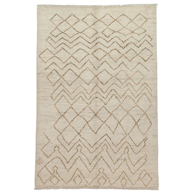 Moroccan Hand Knotted Area Rug- 6′ × 8′10″ For Sale
