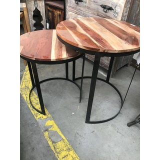 Jackson Wood and Iron Round Nesting Tables - Set of 2 Preview