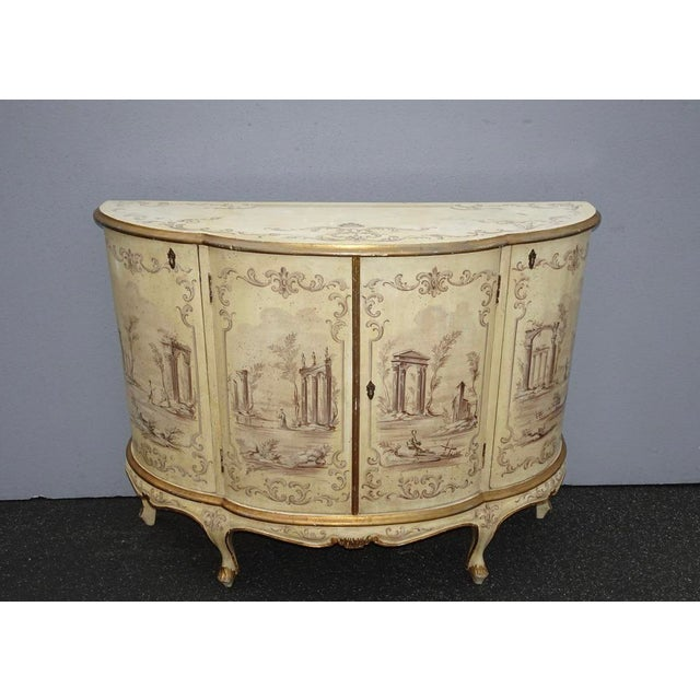 Antique French Country Italian White Hand Painted Demilune Chest Made in Italy For Sale - Image 13 of 13