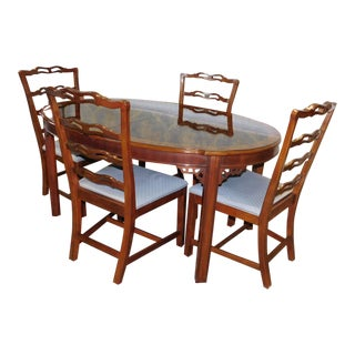 1990s Drexel Heritage Chippendale Style Dining Table & 4 Chairs