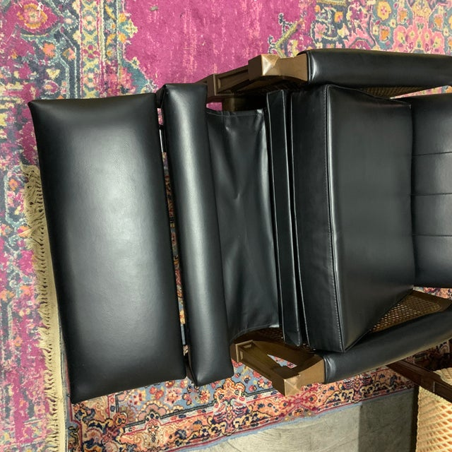Black 1970s Italian Provincial Burris Black Naugahyde and Caned Arm Recliner For Sale - Image 8 of 12