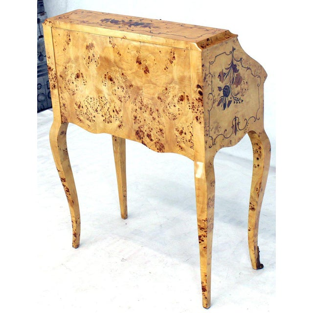 Italian Burl Wood Inlayed Drop Secretary Desk With Matching Bench Bronze Ormolu For Sale - Image 4 of 13