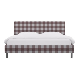 King Tailored Platform Bed in Rose Check For Sale