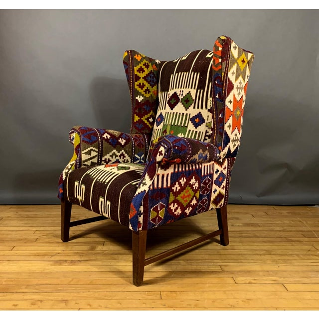 1940s Danish Wingchair, Semi-Antique Turkish Kilim Cover For Sale - Image 12 of 12
