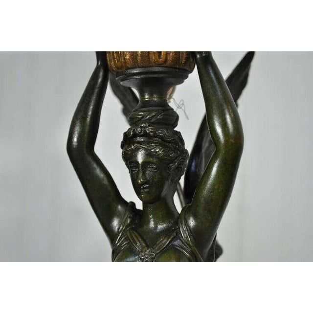 French 19th Century French Gilt Bronze & Marble Neoclassical Style Figural Maiden Table Lamp For Sale - Image 3 of 11