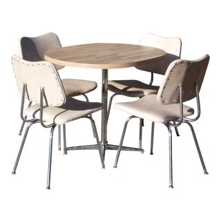 Vintage Mid Century Modern Chrome Dinette Set Oval Dining Table & 4 Chairs Dining Set For Sale