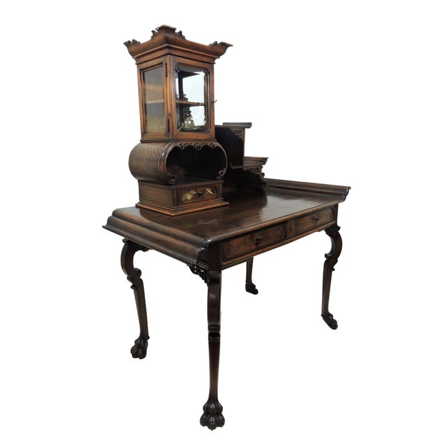 Antique Japonisme inspired, French etagere desk inspired by Gabriel Verdoit. The piece is surmounted by a detachable...
