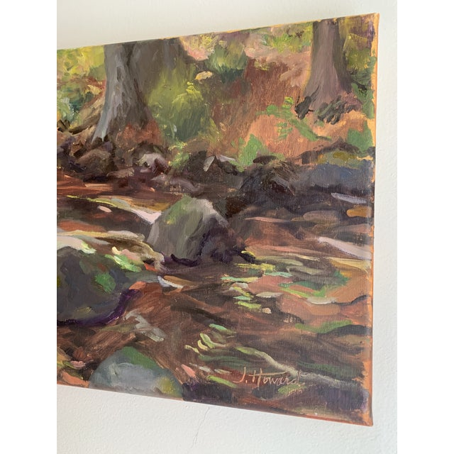 Realism Impressionist The Stream Painting on Canvas For Sale - Image 3 of 9