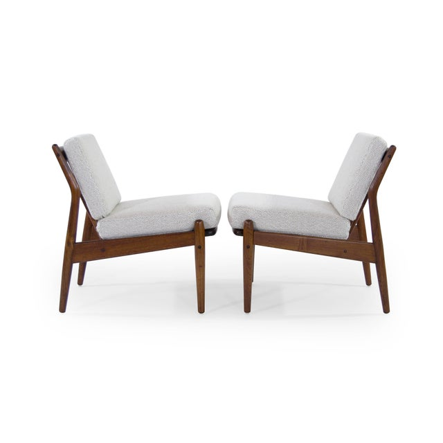 Danish Modern Scandinavian Modern Wool Upholstered Teak Slipper Chairs - a Pair For Sale - Image 3 of 10