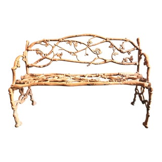 English Faux Bois Cast Iron Garden Bench, 19th C. For Sale
