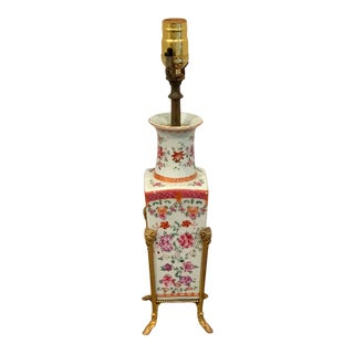 Chinese Export Famille Rose Ormolu Mounted Vase, Now as a Lamp For Sale