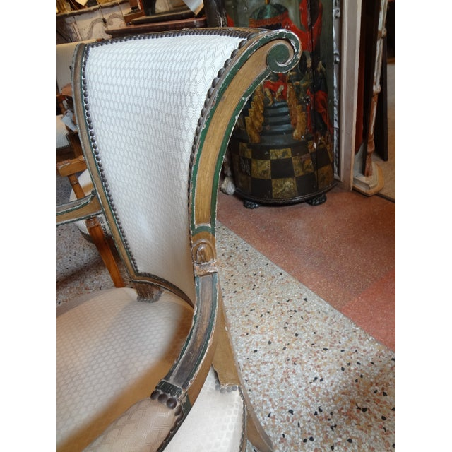 Green Pair of Directoire Period Fauteuils For Sale - Image 8 of 11