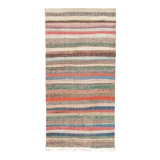 """Mid 20th Century Moroccan Rag Rug - 3'8"""" X 9'4"""" For Sale"""
