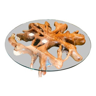 Teak Root Table With Shatter-Proof Glass Top For Sale