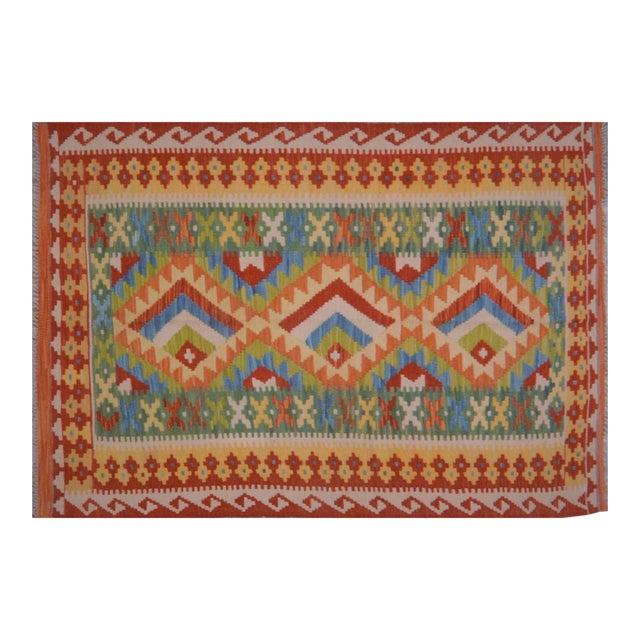 Vintage Maimana Red & Blue Wool Kilim Rug - 3'6″x5′ For Sale