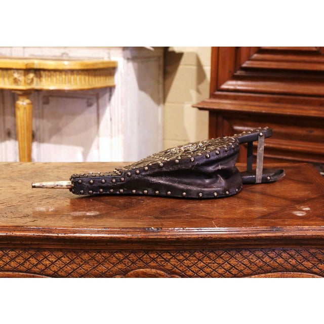 French 19th Century French Repousse Brass and Leather Fireplace Bellows For Sale - Image 3 of 7