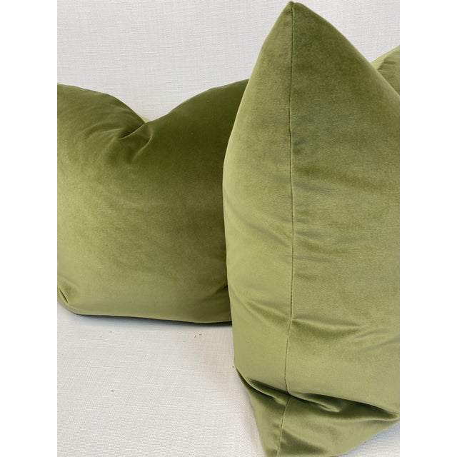 "Leaf Green Velvet 22"" Pillows-A Pair For Sale - Image 4 of 5"