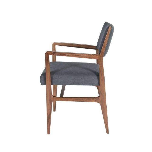 Modern Customizable Maze Walnut Arm Dining Chair For Sale - Image 3 of 5