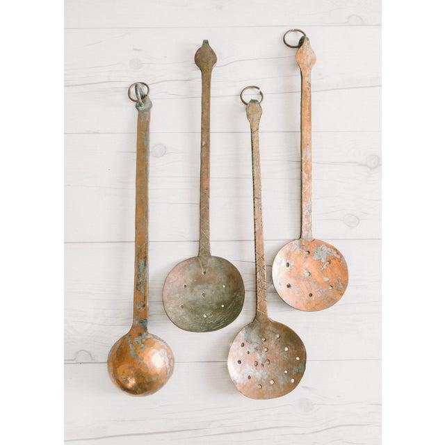 Copper Vintage Hammered Copper Serving Spoons - Set of 4 For Sale - Image 8 of 8
