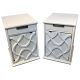 Image of Pair of Moderage Sculptural Parzinger White Lacquered King Size Nightstands For Sale