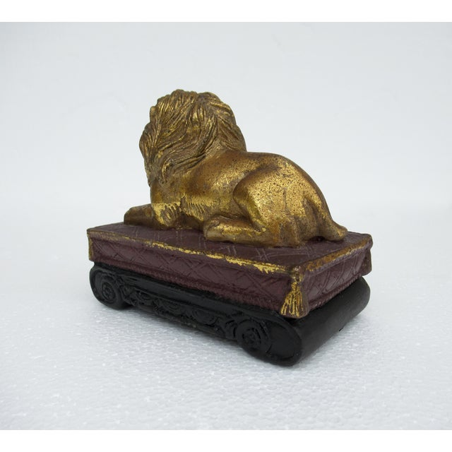 1980s C.1980s Gilt Carved Lion Accent Piece / Paperweight on Attached Pedestal Scroll Base For Sale - Image 5 of 13