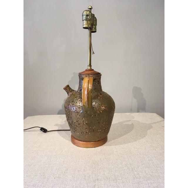 Brown Mid-Century Modern Ceramic Jug Lamp For Sale - Image 8 of 10