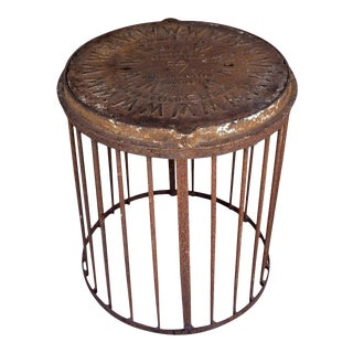 Industrial Antique British Iron Manhole Cover and Drain Side Table For Sale