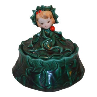 Vintage Anthropomorphic Christmas Holly Jar For Sale