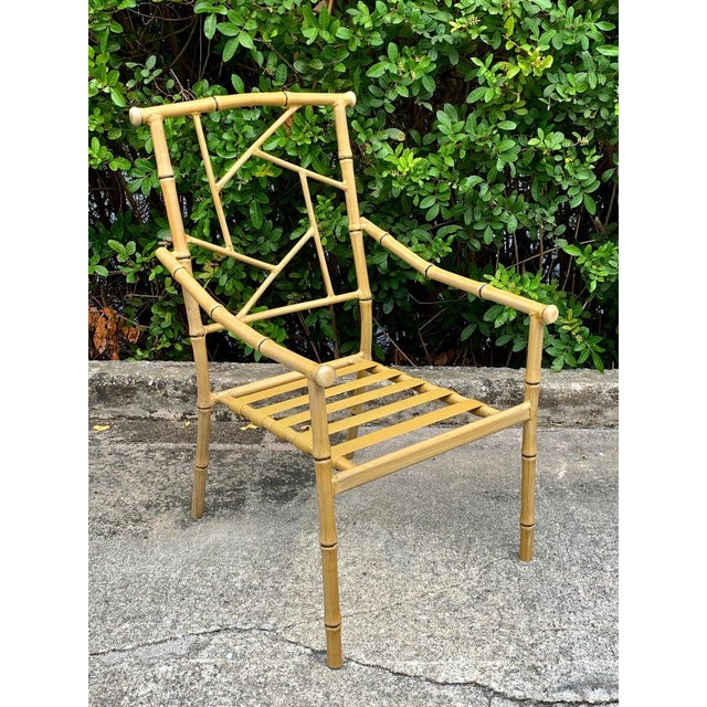 Set of Six Hollywood Regency Faux Bamboo Garden Chairs For Sale In West Palm - Image 6 of 10