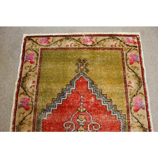 """Vintage Turkish Oushak Handmade Antique Prayer Rug - 37"""" x 52"""" For Sale In San Francisco - Image 6 of 6"""