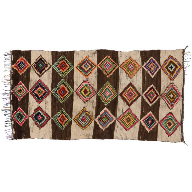 Boho Chic 20th Century Moroccan Berber Azilal Rug - 4'10 X 9'4 For Sale - Image 3 of 7