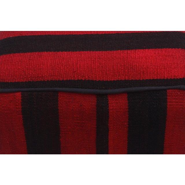 Arshs Domitila Red/Black Kilim Upholstered Handmade Ottoman For Sale In New York - Image 6 of 8