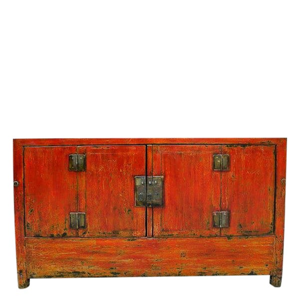 1950s Asian Modern Red Dongbei Wedding Cabinet For Sale
