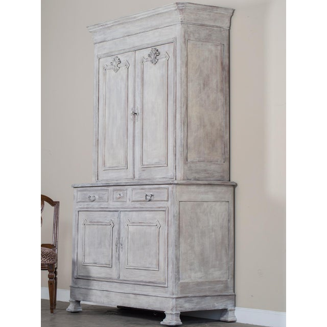 Antique French Painted Oak Louis Philippe Buffet a Deux Corps Cabinet circa 1850 - Image 10 of 11