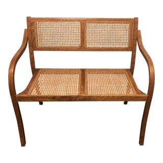Mid Century Modern Caned Scandinavian Bench For Sale