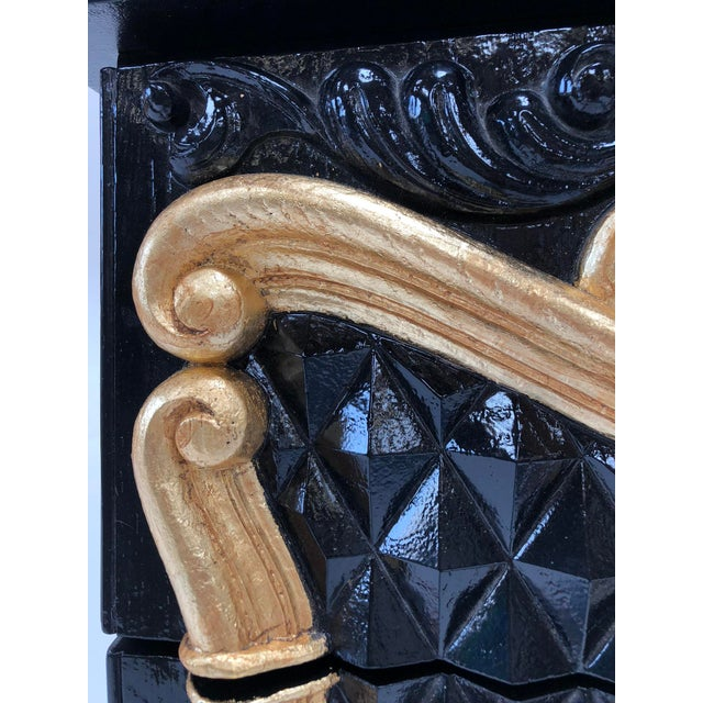 Wood Hollywood Regency High Gloss Black and Red Lacquer Dresser W Gold Leaf Details For Sale - Image 7 of 12
