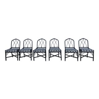 Chinese Chippendale Faux Bamboo Chairs- Set of 6 For Sale