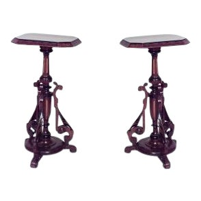 American Victorian Eastlake walnut pedestals- A Pair For Sale