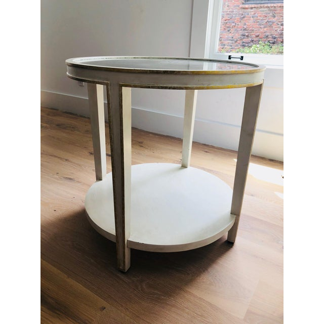 Oly Contemporary Round Mirrored & Smoky Top on White Wood Frame Side Table - Image 5 of 5
