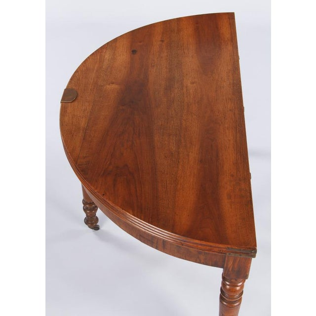 French Early 19th Century French Louis Philippe Demi Lune Walnut Table For Sale - Image 3 of 10