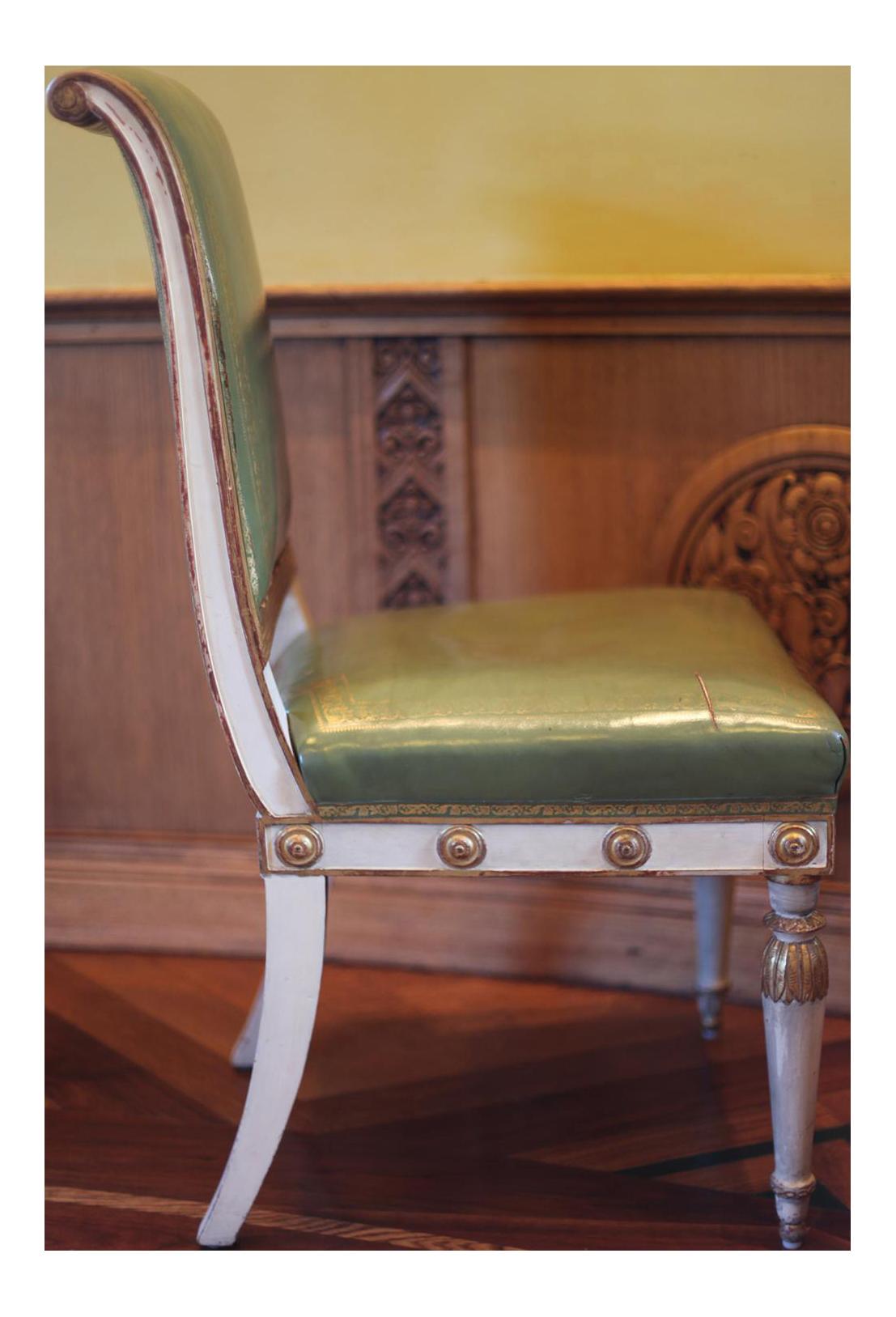 Antique Hollywood Regency Dining Chairs After Jean Baptiste Boulard For Sale