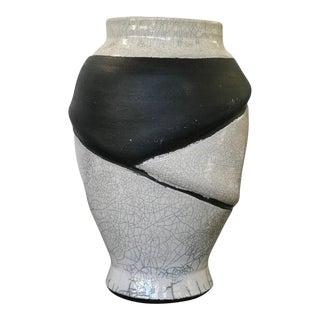 1980s Memphis Style Raku Black and White Pottery Vase