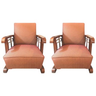 Mid-Century Modern Art Deco Style Lounge/Theater Armchairs - A Pair