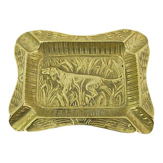 French Brass Hound Ashtray For Sale