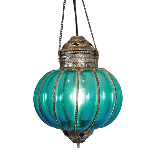 Vintage Turquoise Pumpkin Lantern For Sale