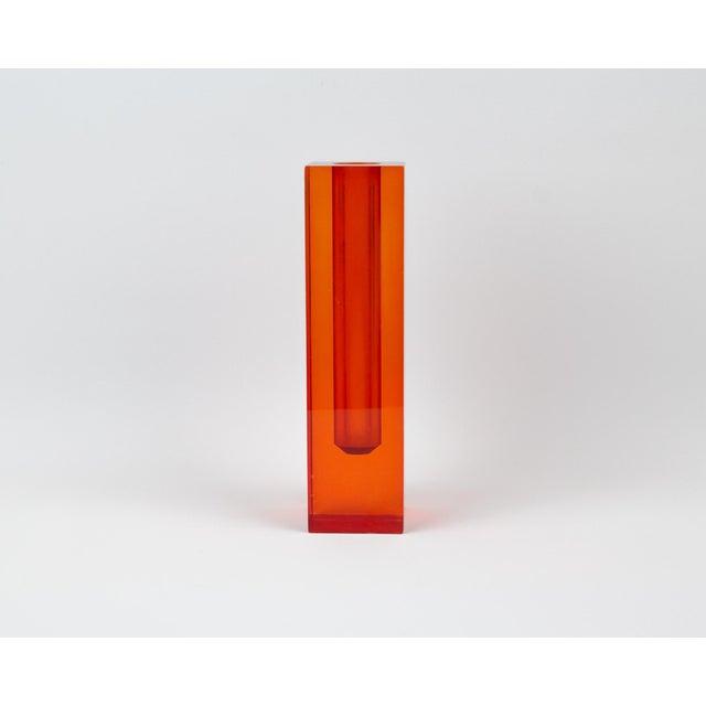 Red Orange Rectangular Lucite Bud Vase For Sale - Image 12 of 12