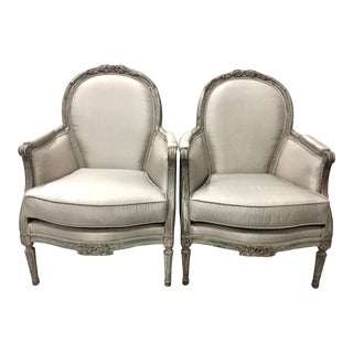 20th Century Swedish Louis XVI Bergeres - a Pair in Dove Grey