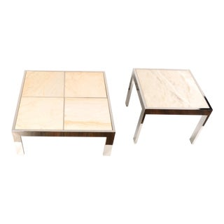 Pace Collection Marble & Chrome Coffee and Side Tables For Sale