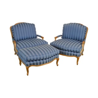 Sam Moore Furniture French Louis XV Style Wide Pair Bergere Lounge Chairs With Ottoman For Sale