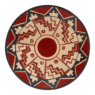 Mid Century Pre-Colombian Style Chile Pottery Wall Decor Bowl For Sale